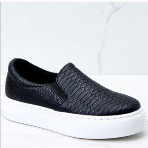 Qupid Black Snakeskin Platform Slip On Sneakers